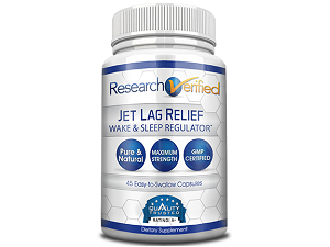 bottle of Research Verified's Jet Lag Relief