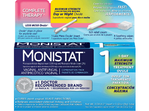 box of Monistat Complete Therapy Less Mess Ovule